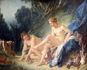 Peinture érotique: Diane sortant du bain