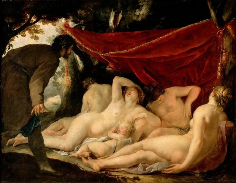 Peinture érotique: Vénus et les grâces surprises par un mortel