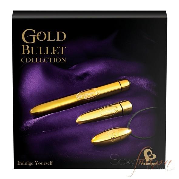 Coffret de sextoys powerbullet Gold edition de Rocksoff composé d'un vibromasseur, d'un stimulateur clitoridien et d'un oeuf vibrant.
