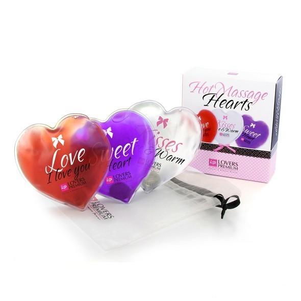 Kit de massage 3 coeurs de loversprium. Coeurs chauffants pour un massage sensuel et érotique