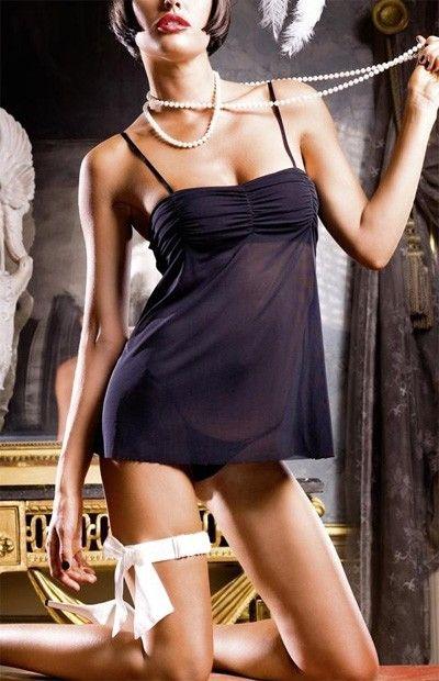 Nuisette transparente carla noire baci lingerie. soutien gorge plissé et bretelles réglables.