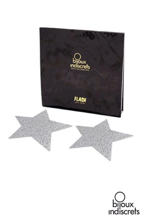 Caches tétons étoile en argent de bijoux indiscrets. Idéal pour compléter un ensemble de lingerie érotique