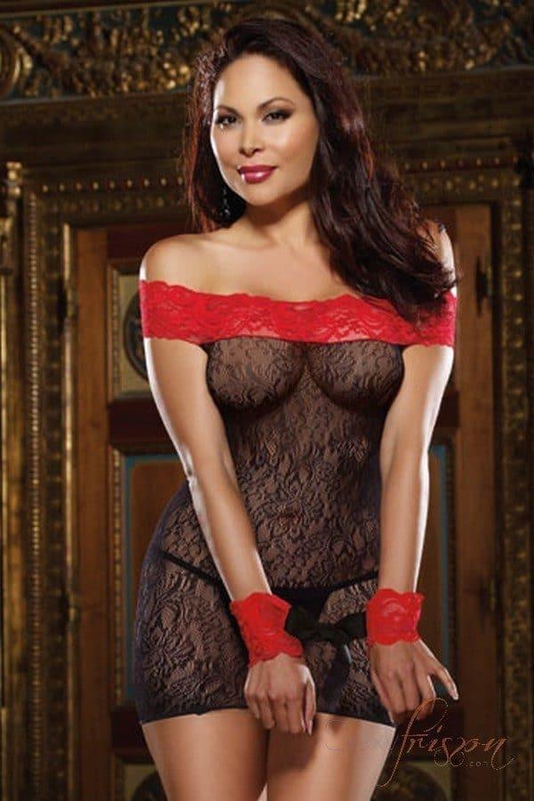nuisette sexy sandra en résille florale noire et rouge. Une lingerie grande taille destinée aux femmes rondes. Son élasticité lui permet de s'adapter à toutes les morphologies. Les courbes sont mises en valeur