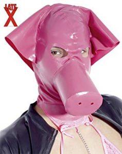Masque de cochon en latex pour jouer l' animal durant les jeux de domination.